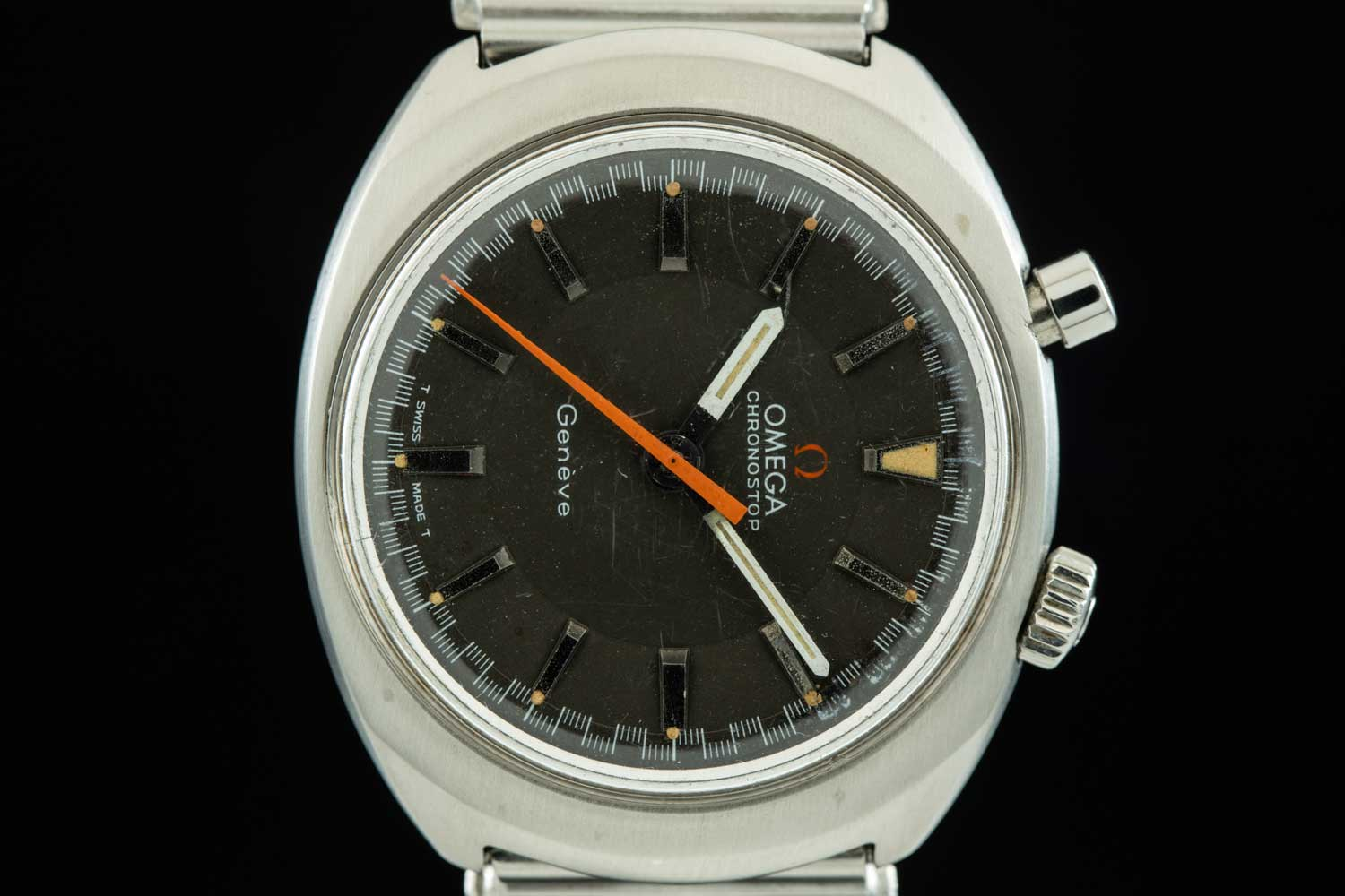 """This Omega Chronostop """"Driver"""" was designed to be worn under the wrist, for greater readability when behind the wheel of a car (Image: AnalogShift.com)"""