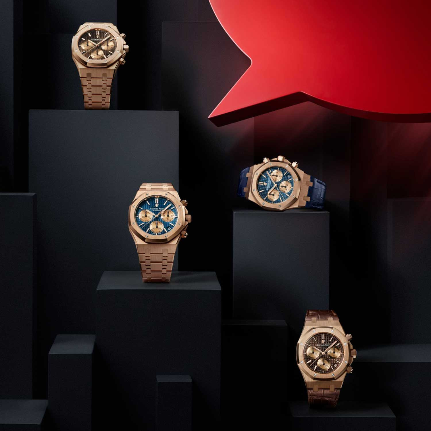 The new Royal Oak self-winding chronograph comes with two dial options executed in blue or brown dials.