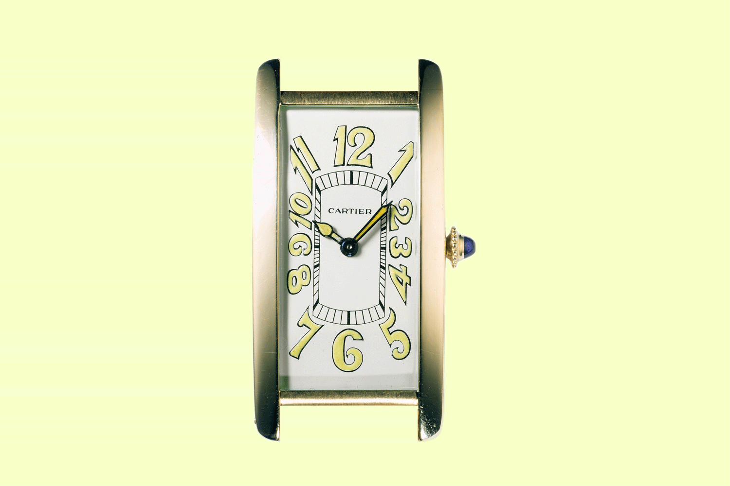 The Tank Cintrée by Cartier London, dated to 1929 and gifted by Fred Astaire to his friend and racehorse trainer Felix Leach Jr, which had a dial with a combination of Arabic Numerals and chemin de fer minute track; this watch is presently part of the Cartier Collection (©Revolution)