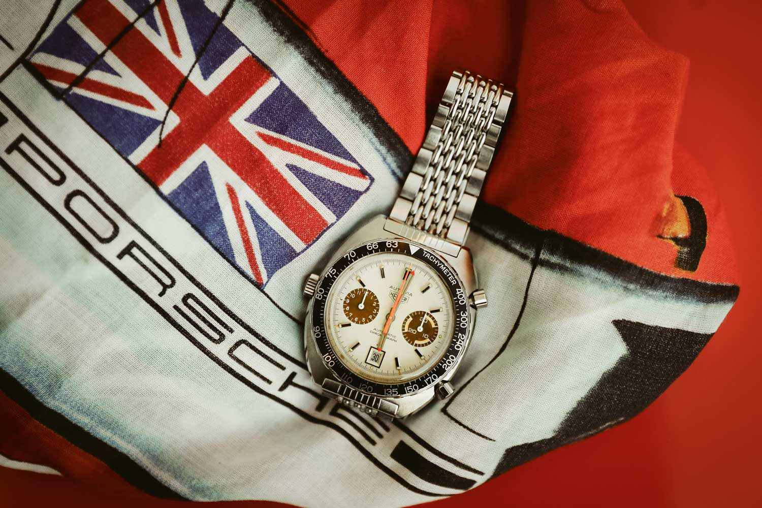 """Heuer Autavia 1163 T with """"White Orange Boy"""" dial and colour-changed brown subdials"""