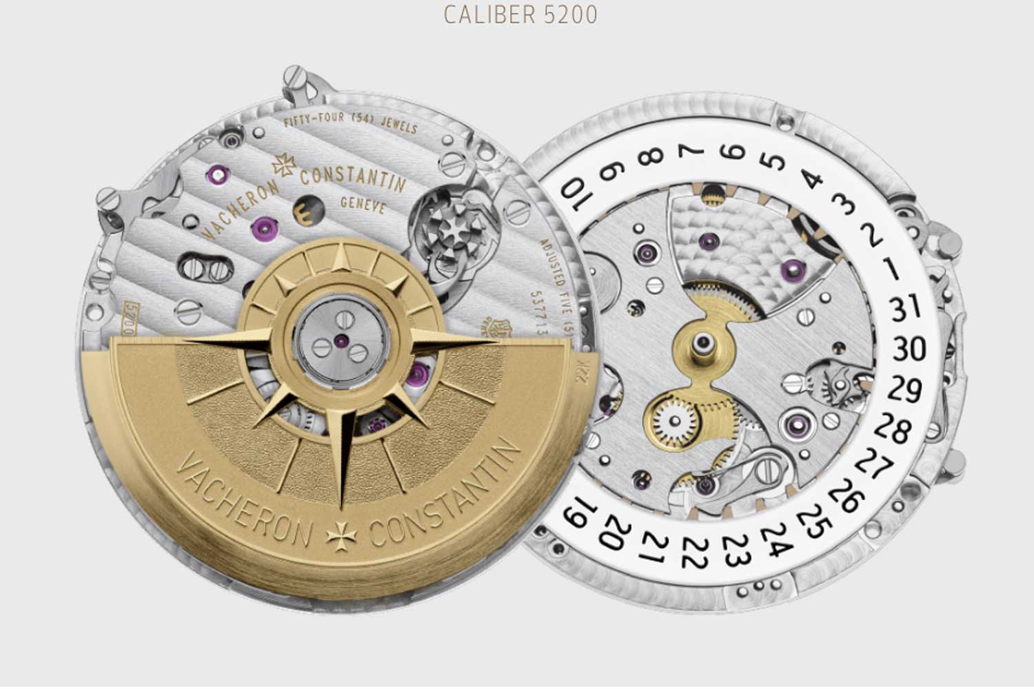 ertical clutch engagement systems, such as the one in this Vacheron Constantin 5200 are usually hidden under the chronograph bridge and the oscillating mass. Note the extremely different engineering and design approach versus the brand's artistic cal. 5100T of horizontal coupling design.