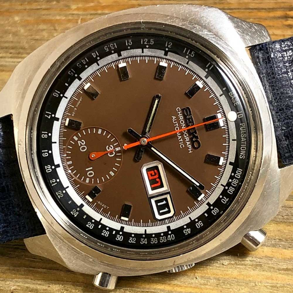 There are many variants in Seiko's 6139-6002 series from 1970, seen here is a rare model with an internal pulsation bezel and a rich chocolate brown dial (Image: CraftandTailored.com)