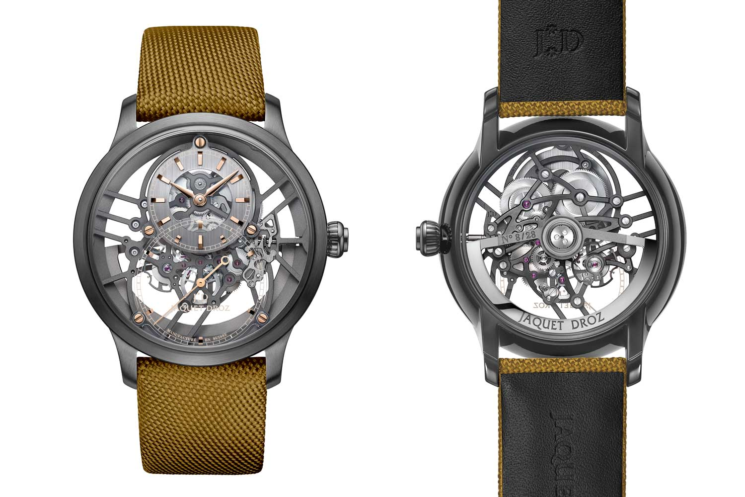 The Grande Skelet One plasma ceramic yellow has a warmer hue because of the red gold screws and indexes on the dial