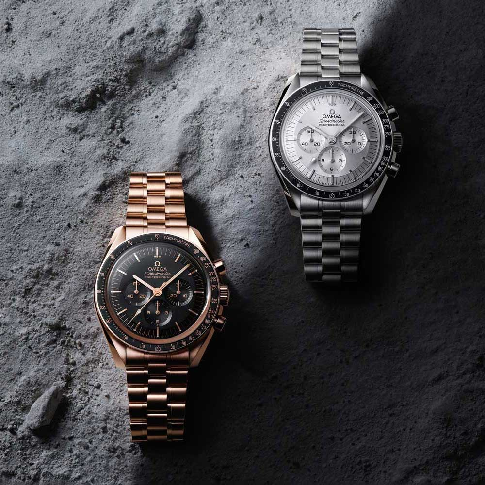The new-generation Speedmaster Professional Moonwatches are powered by Omega's cal. 3861 featuring a Si14 balance spring, which keeps the watch's regulating organ out of reach of the perils of magnetism for up to extremes 15,000 gauss.