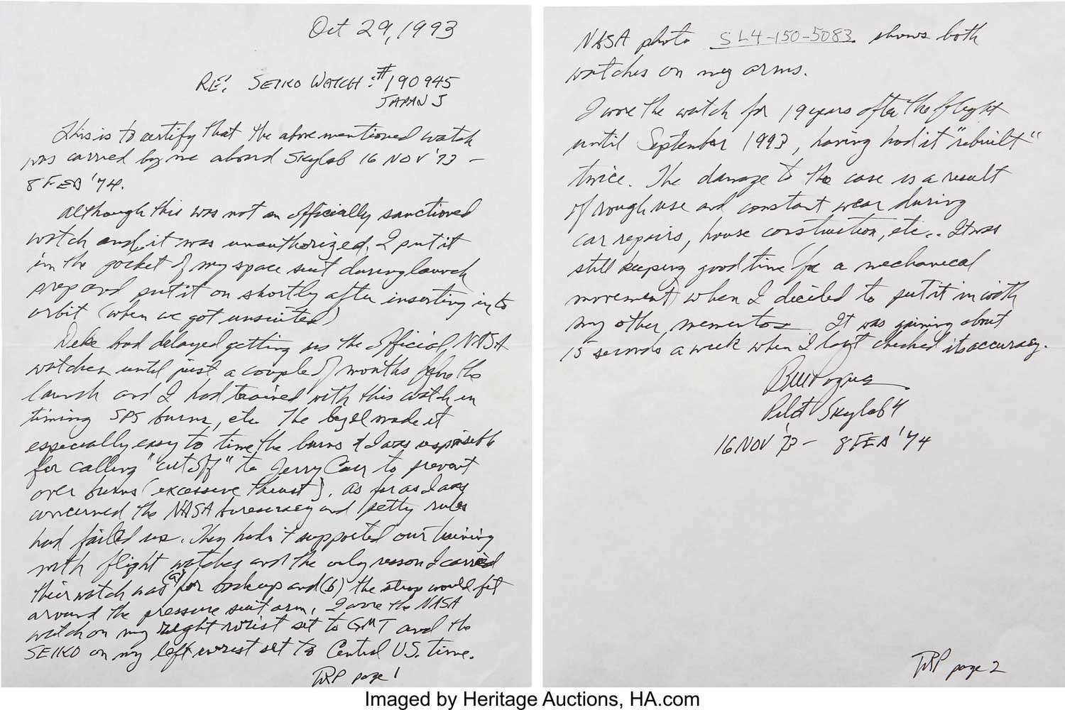 Authentication letter from Colonel Pogue ( Image: Heritage Auction)