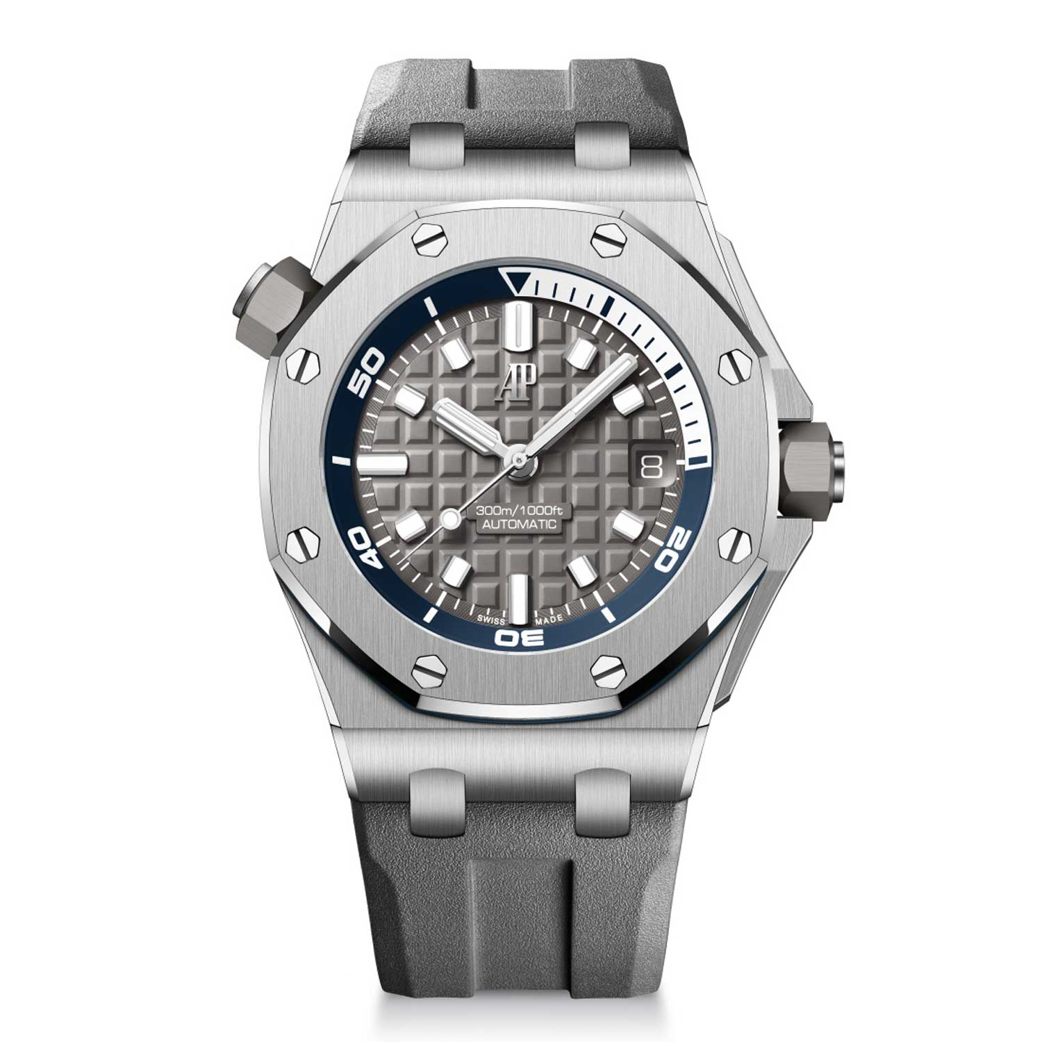 """The Royal Oak Offshore Diver collection is now available in some really cool colours. Seen here is the model with titanium case with grey ceramic bezel, grey """"Méga Tapisserie"""" dial and an interchangeable rubber strap."""