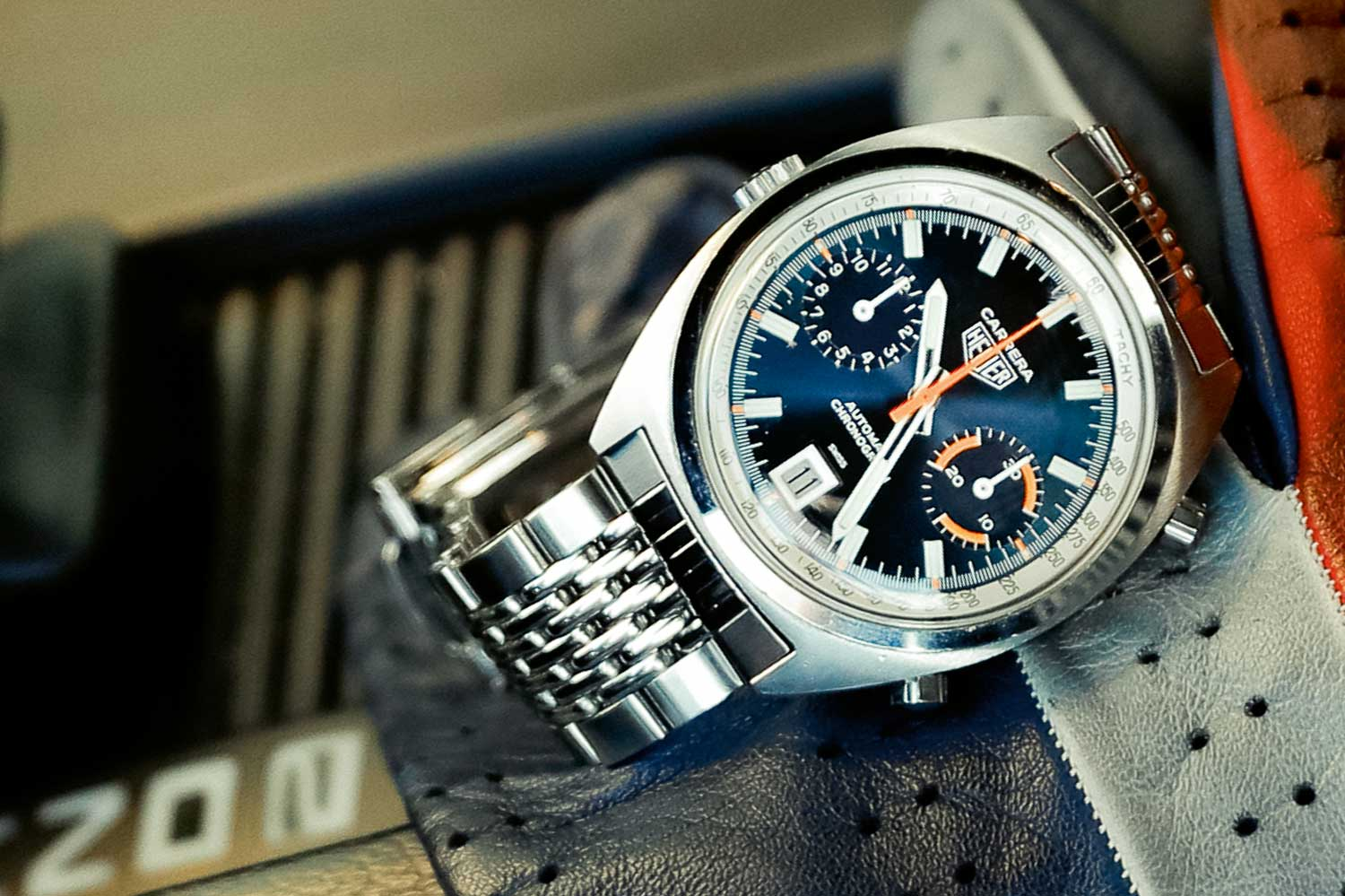 A Heuer Carrera 1153 BN with very rare and colourful dial variation that was never shown in catalogues, on Gay Frères bracelet