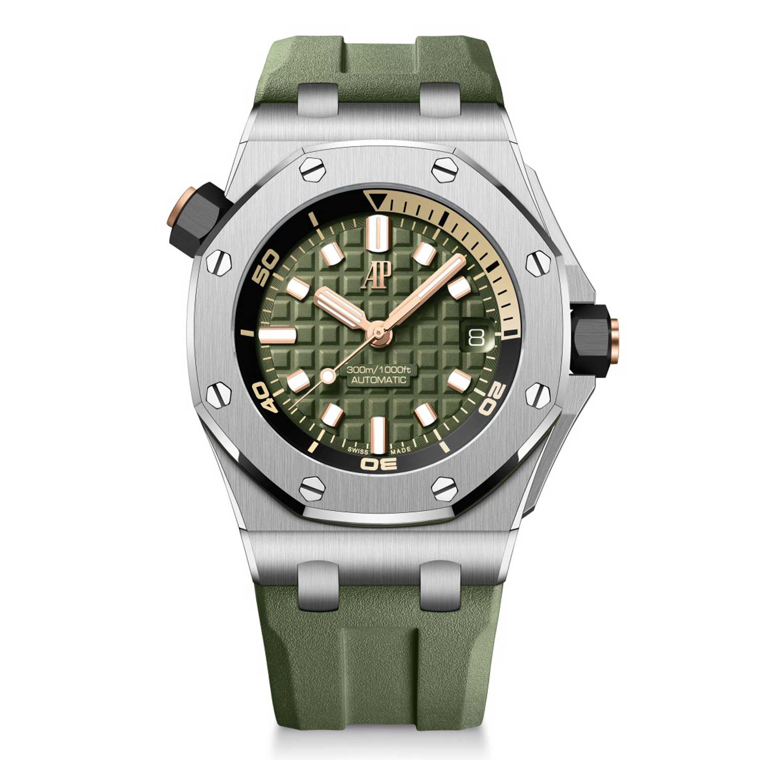 """The Offshore Diver in stainless steel case with khaki """"Méga Tapisserie"""" dial and interchangeable rubber strap."""