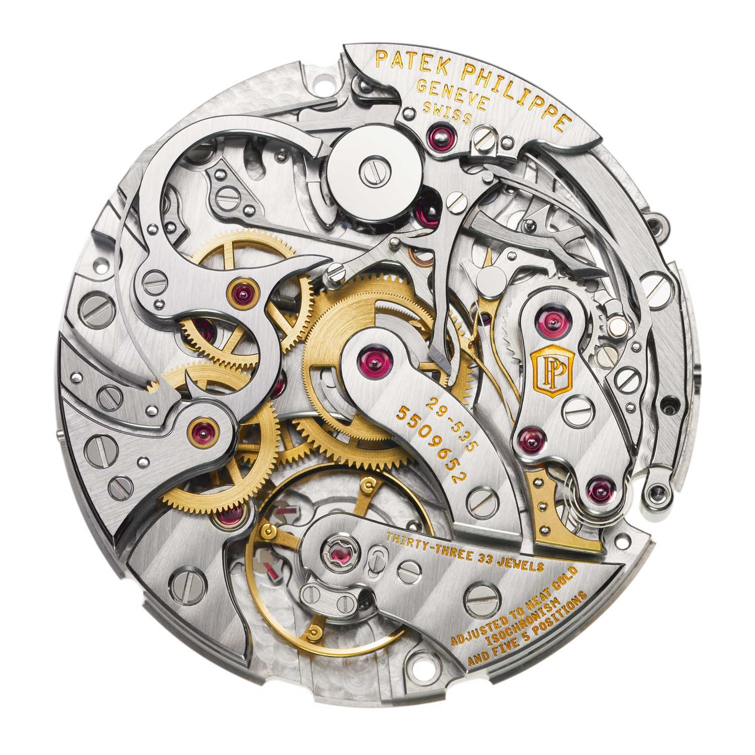 Patek Philippe 29-535 This famous, six-patent-bearing, horizontal-coupling caliber has served since 2009 as the workhorse for the refined manual-wind Patek chronographs. Note how the column wheel (at the top) is hidden behind a cap.