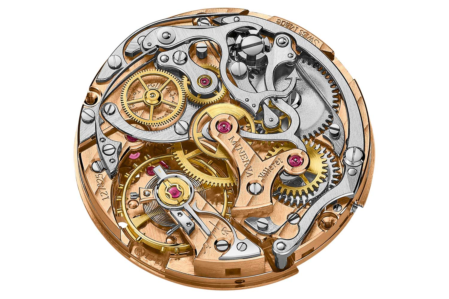 The open architecture of this Minerva caliber Montblanc M13.21 serves as a good example of the layout of a column wheel system (at the top) and its horizontal coupling. Just above and to the right of the central chronograph wheel, the intermediate wheel and the drive wheel are plainly visible