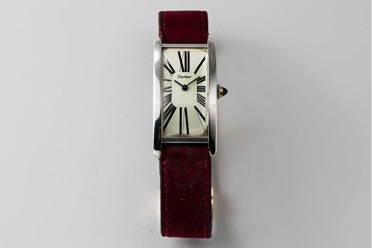 A 9-lignes, 1970 London Cartier Tank Cintrée in the rarer white gold case; this particular example is from the private collection of Auro Montanari (©Revolution)