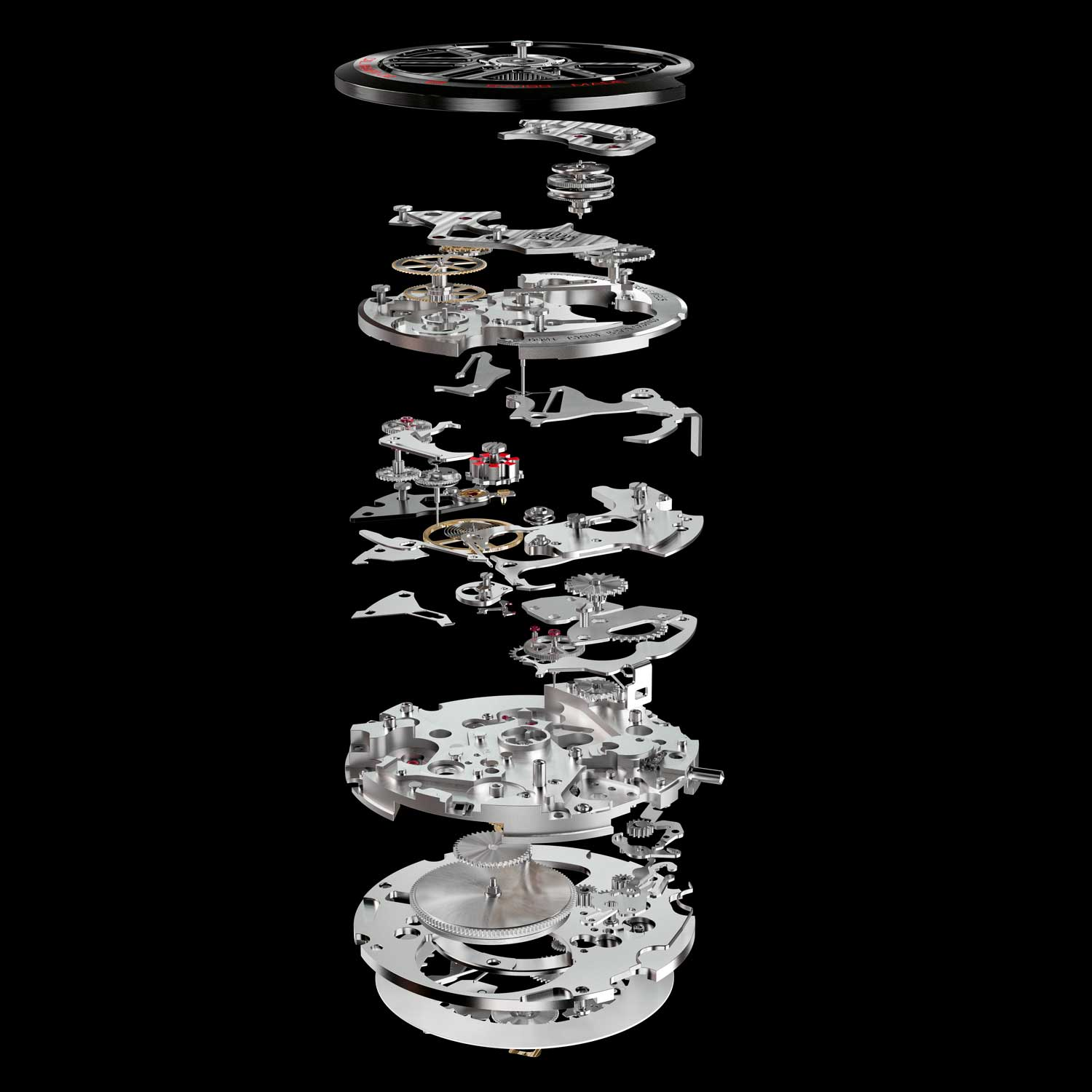 An exploded view of the TAG Heuer's HEUER 02 chronograph movement, which employs a column wheel control and vertical engagement formula.