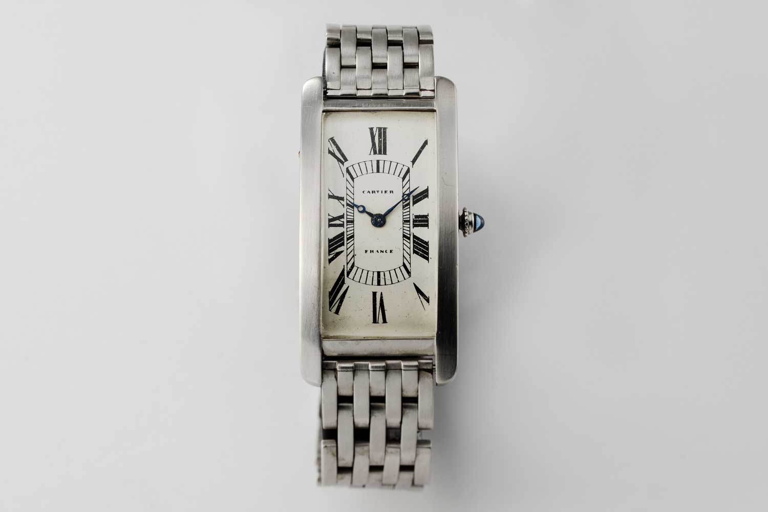1928 Platinum Cartier Tank Cintrée with original 7-link platinum bracelet; this particular example is from the private collection of Auro Montanari (©Revolution)