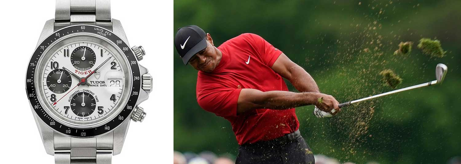 Tudor's tie-in with brand ambassador Tiger Woods led to the golfer's name being used on some dials, which are known by collectors as Tudor Tigers.