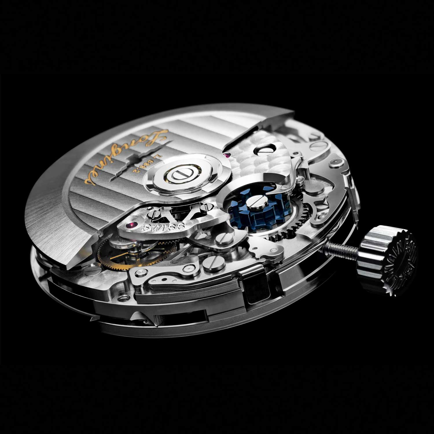 The ETA-developed L.688.2 caliber, exclusive to Longines, is remarkable for the use of a vertical coupling (hidden below the rotor and the chronograph bridge) and its affordability.