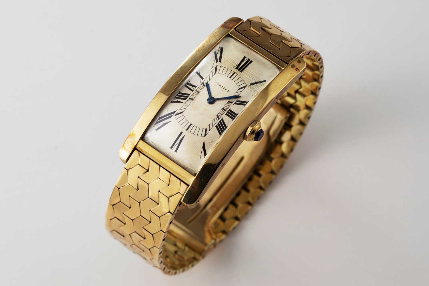 1951 yellow gold Cartier Tank Cintrée with original yellow gold bracelet; this particular example is from the private collection of Auro Montanari (©Revolution)