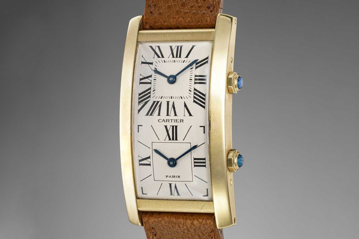 1990 Cartier Tank Cintrée Dual Time in yellow gold; sold with Phillips in 2018 for CHF 8,750 (Image: phillips.com)