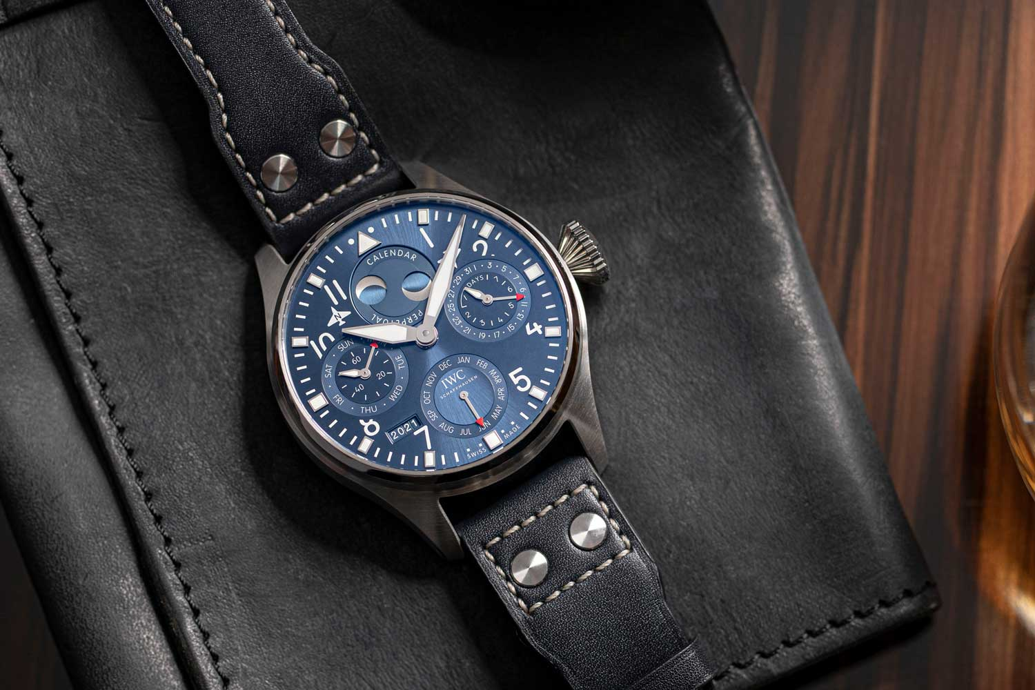 The Big Pilot Watch Perpetual Calendar has a sub-dial at 12 o'clock that presents a perpetual double moon phase display accurate for both the northern and southern hemispheres.(Image: Revolution)