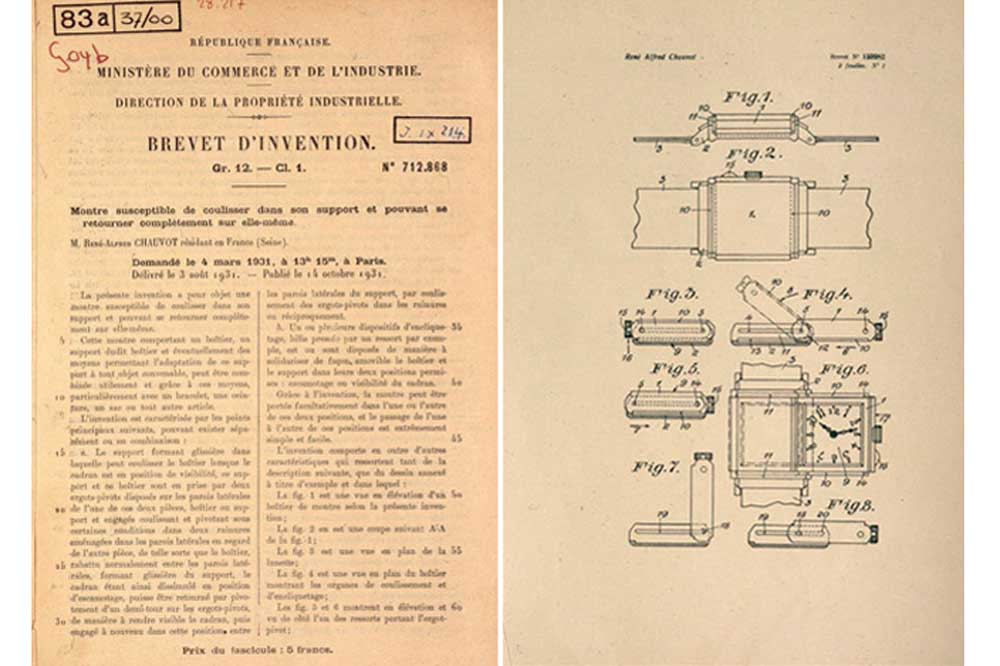 The patent for the Jaeger-LeCoultre Reverso from 1931
