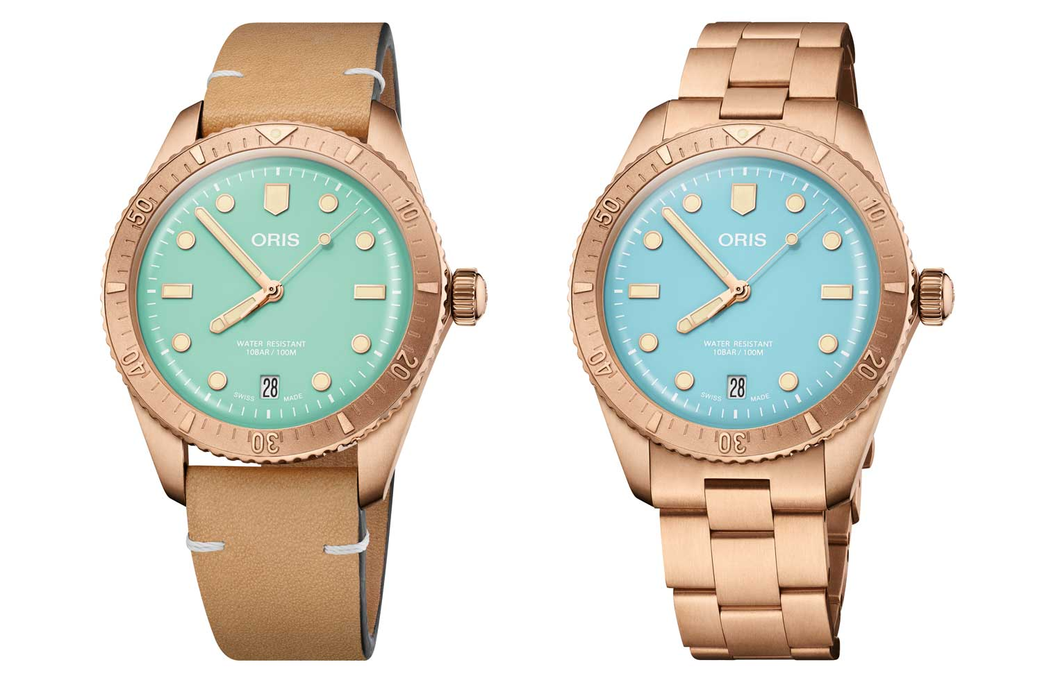 """The new Divers Sixty-Five """"Cotton Candy"""" has a 38mm bronze case that is water-resistant up to 100 meters."""