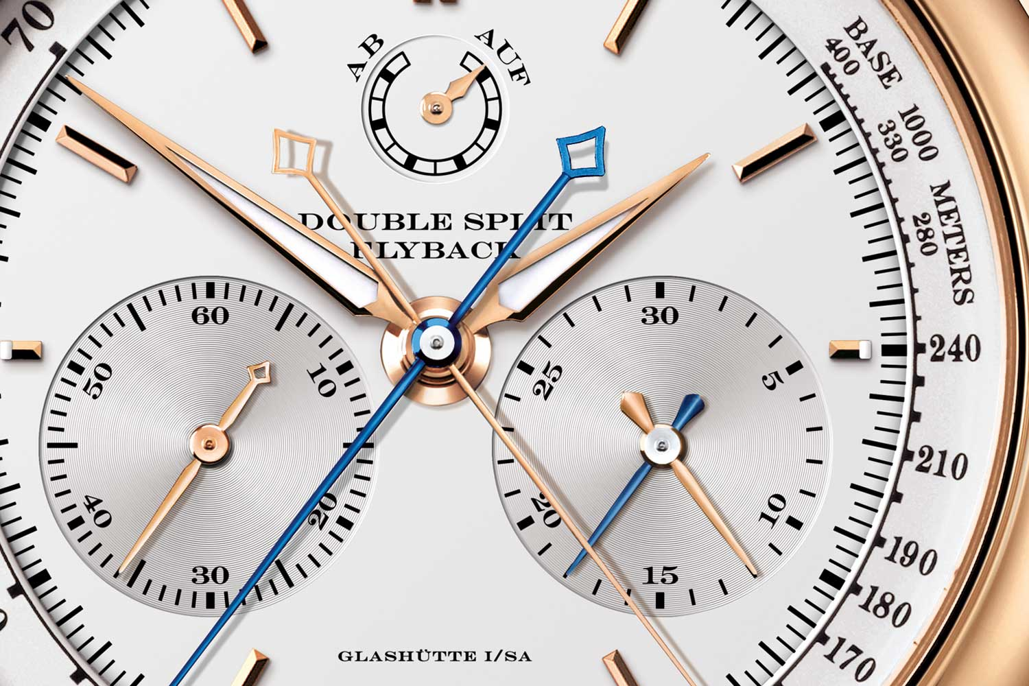 A. Lange & Söhne Double Split with both split seconds and split minute hands, allowing the measurement of twin elapsed times up to 30 minutes