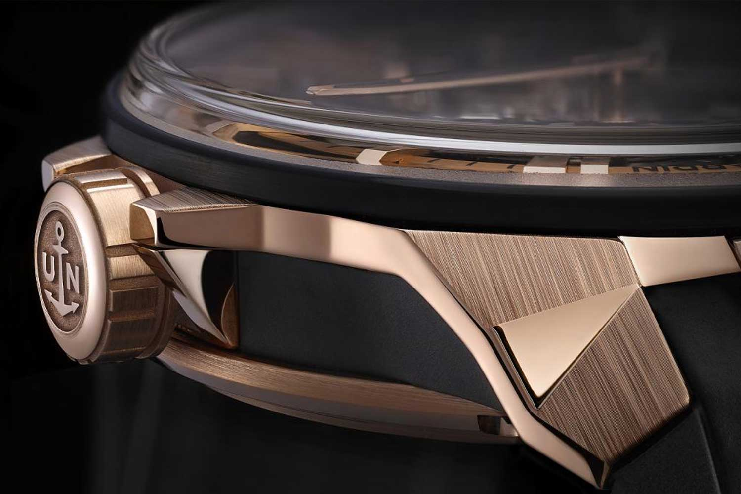 The 45mm rose gold case features a modular construction with a titanium middle section and faceted lugs.