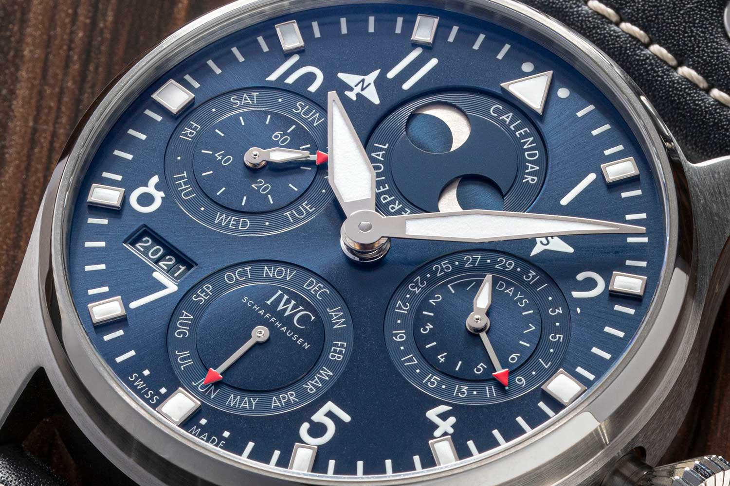 The new Big Pilot Watch Perpetual Calendar has a 46.2 mm stainless-steel case and a blue dial with rhodium-plated hands. (Image: Revolution)