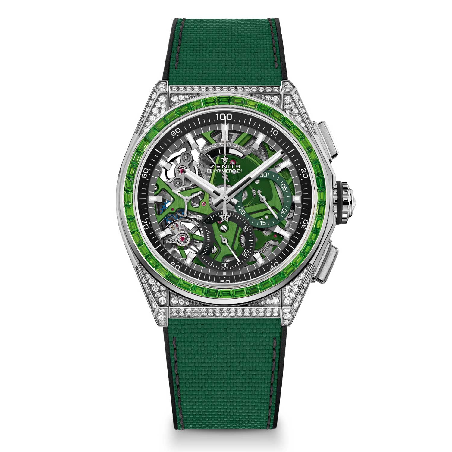 The watch is made from stainless steel with its skeleton dial revealing full chronometer certified chronograph sub-dials