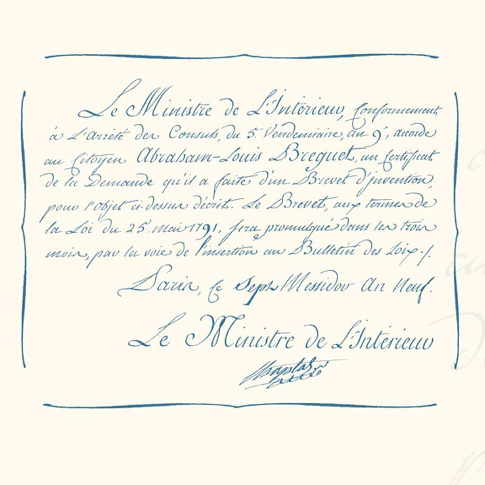 An extract from the patent granted to Breguet by the French Interior Minister