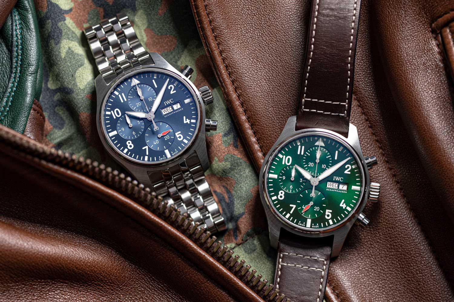 IWC Pilot's Watch Chronograph 41 is offered with a blue or green dial, has rhodium plated hands and highly-legible white numeral and minutes track designs.(Image: Revolution)
