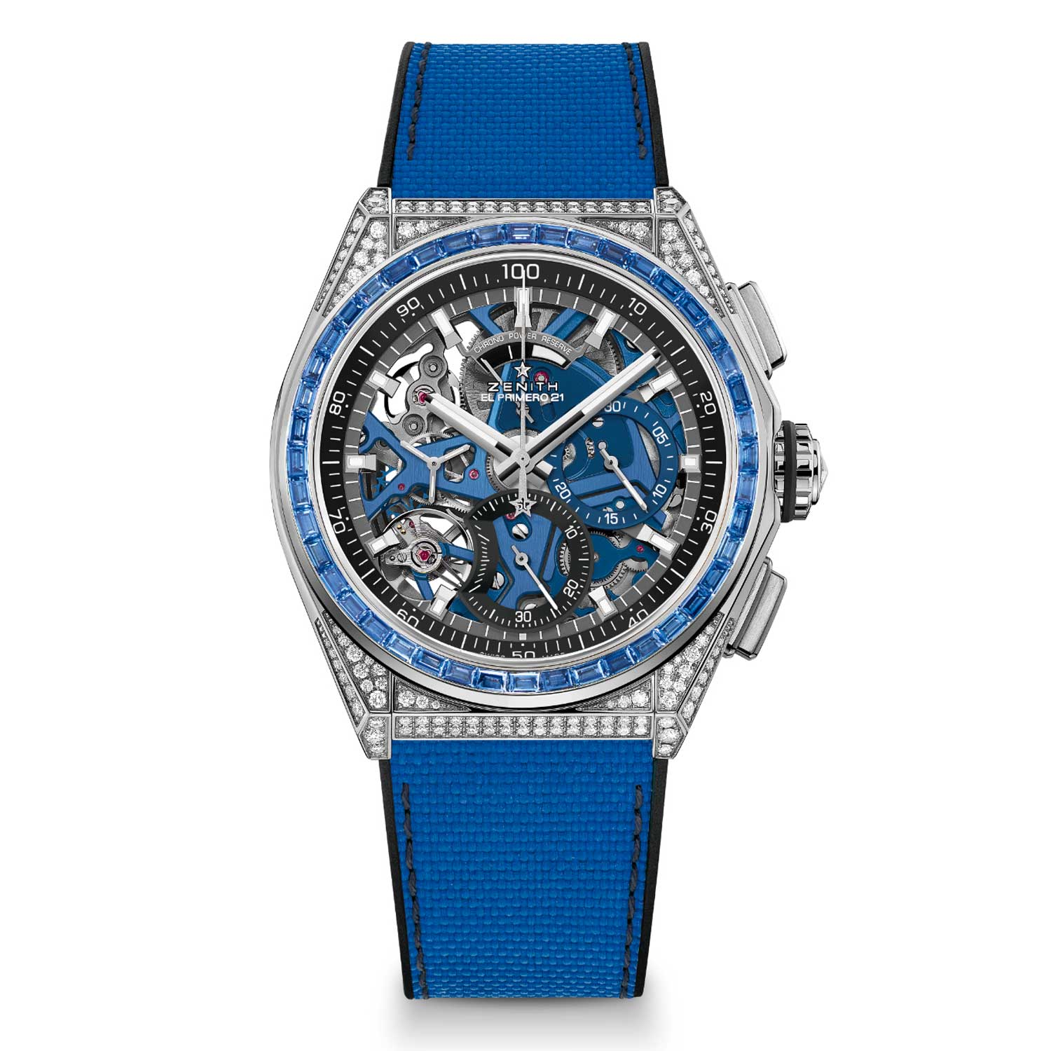 Each version features a bezel set with 44 baguette-cut precious stones, with matching coloured movements and rubber straps.