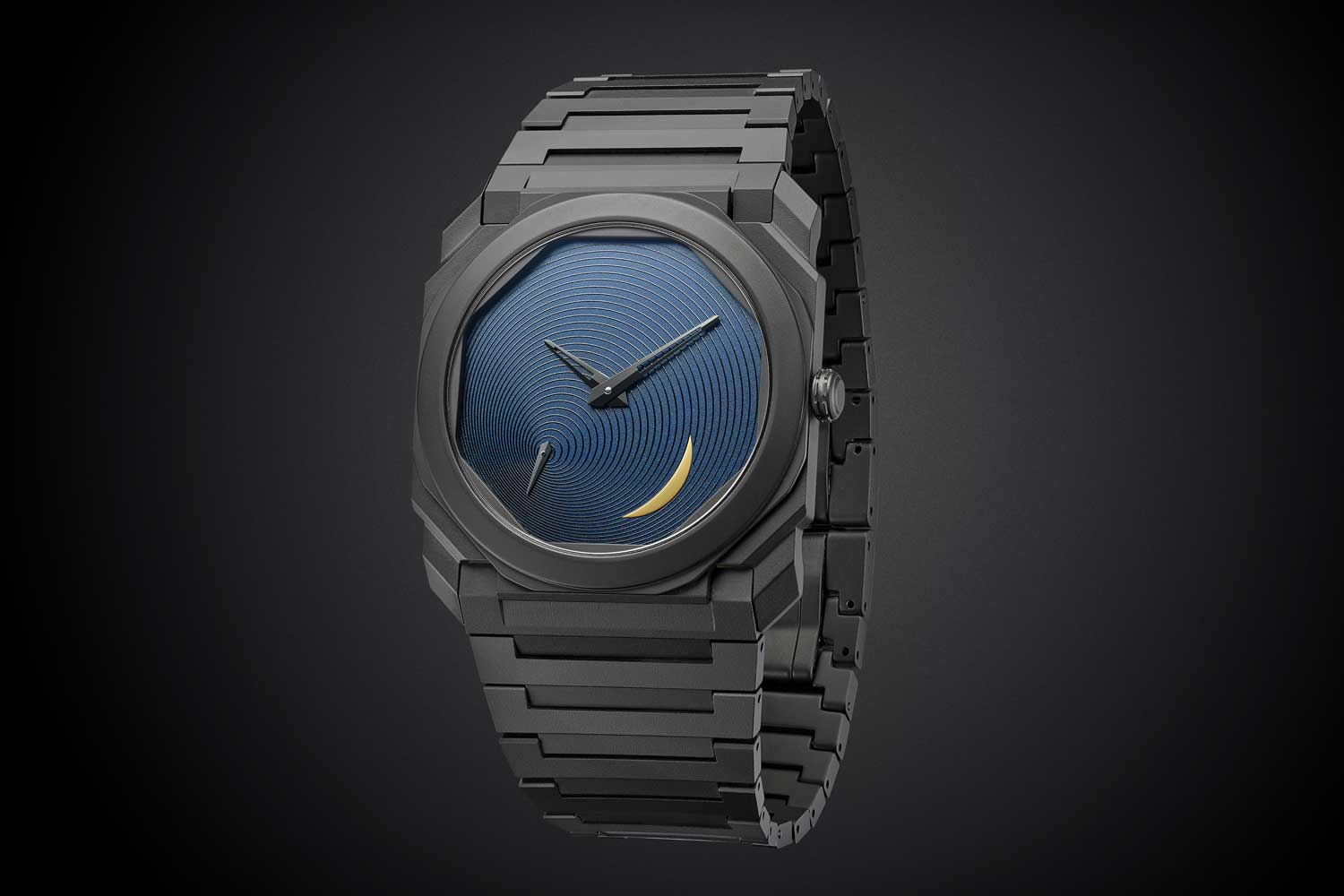 The new Bulgari Tadao Ando Limited Edition comes with Ando's signature dial in blue with an addition of a yellow crescent moon meant to express the transitory nature of time