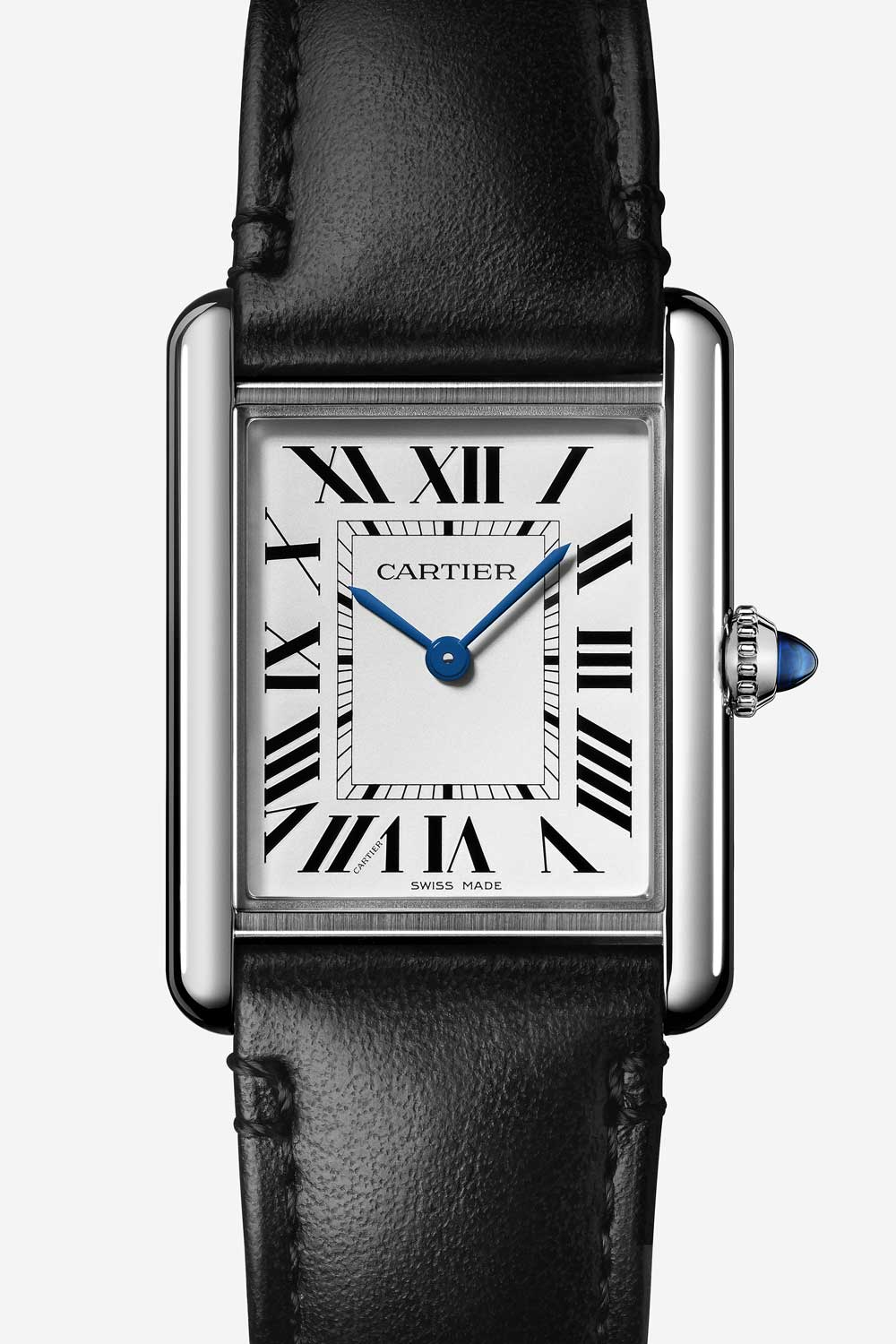 The delicate and invisible perforation of Roman numerals on this watch allow solar energy to reach the photovoltaic cells hidden under the dial.There is no battery in the Tank Must and it will only need to be serviced every 16 years