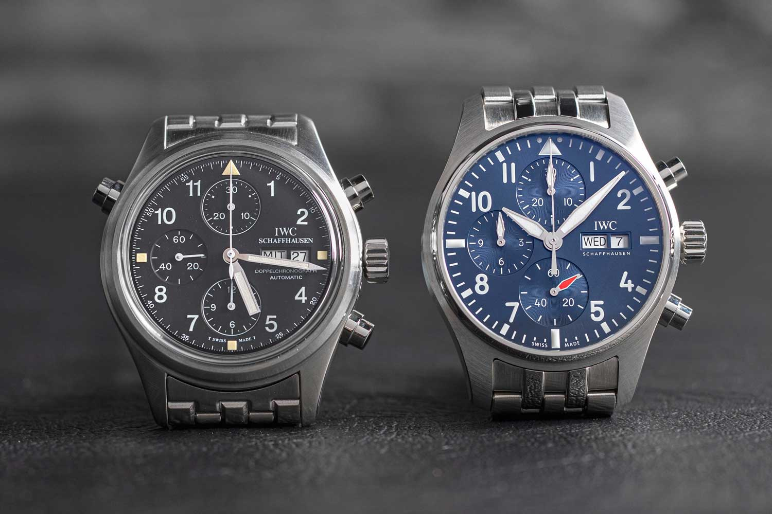 Powered by calibre 69385, the new Pilot's Watch Chronograph is paired with a coordinating blue (for the blue dial) or brown (for the green dial) calfskin strap or a stainless-steel bracelet(Image: Revolution)
