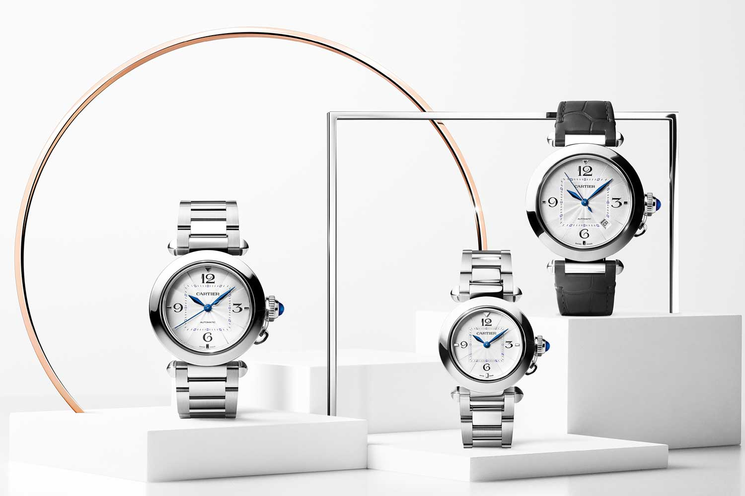 The bracelet on the steel models can easily be swapped out for a leather strap using Cartier's QuickSwitch mechanism