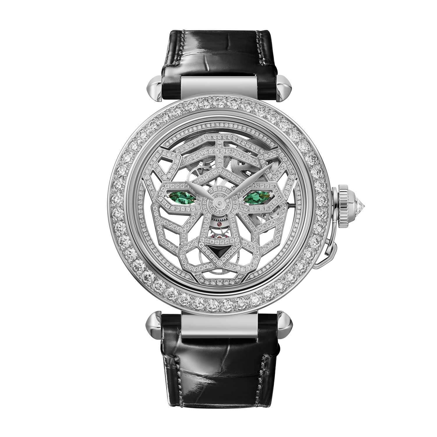 For ladies, Cartier is also offering a series of brilliant diamond-set Pasha watches featuring a skeletonized Panther motif in the dial, and which feature a mechanical 9625 MC movement
