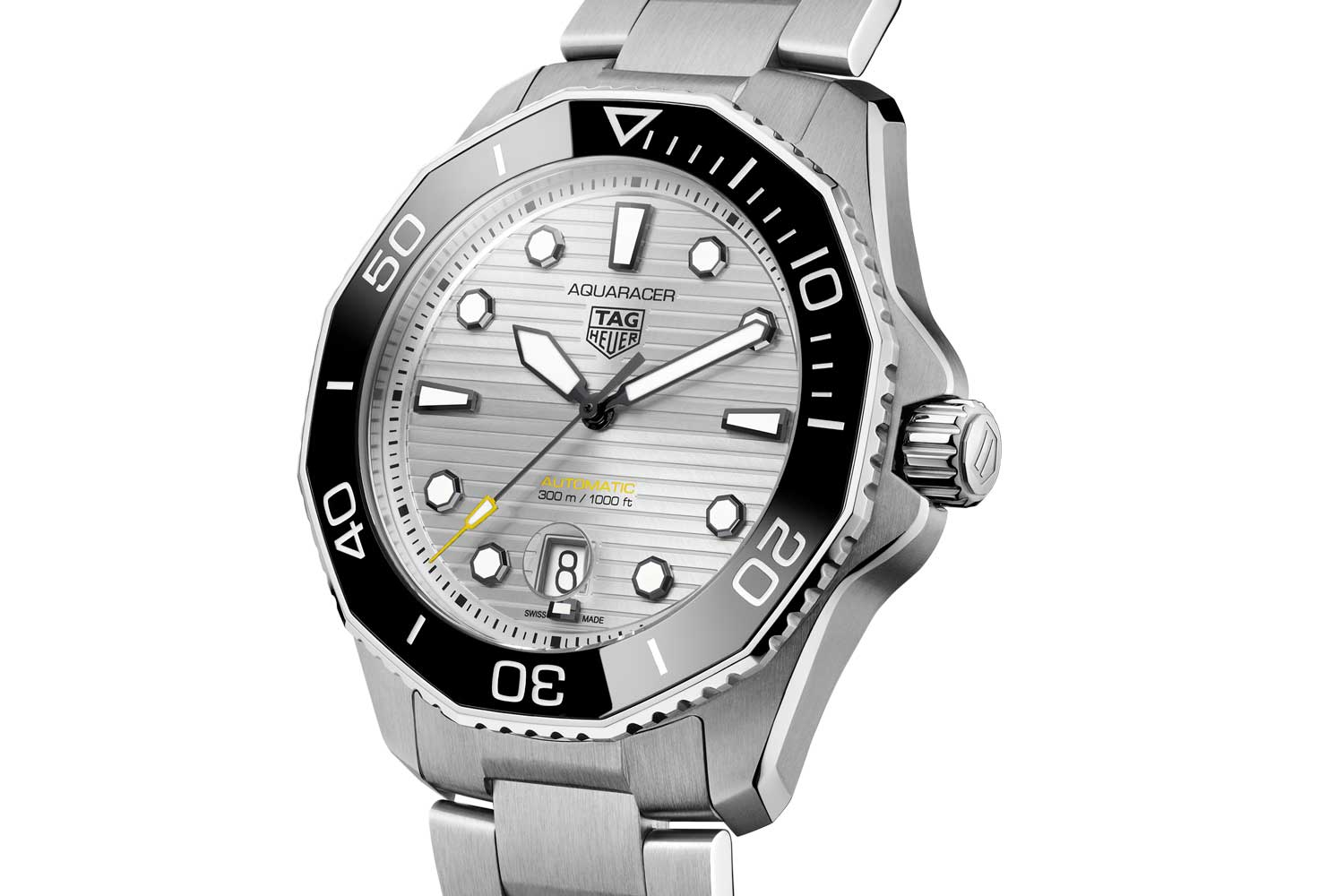 Available in two sizes, 36 mm and 43 mm, the Aquaracer 300 is water-resistant up to 300 meters.