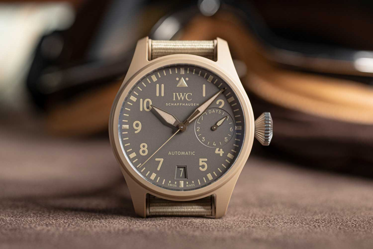 """The Big Pilot's Watch Top Gun Edition """"Mojave Desert"""" is a simpler version of the 'Mojave Desert' perpetual calendar watch with just the date and power reserve display on the dial.(Image: Revolution)"""