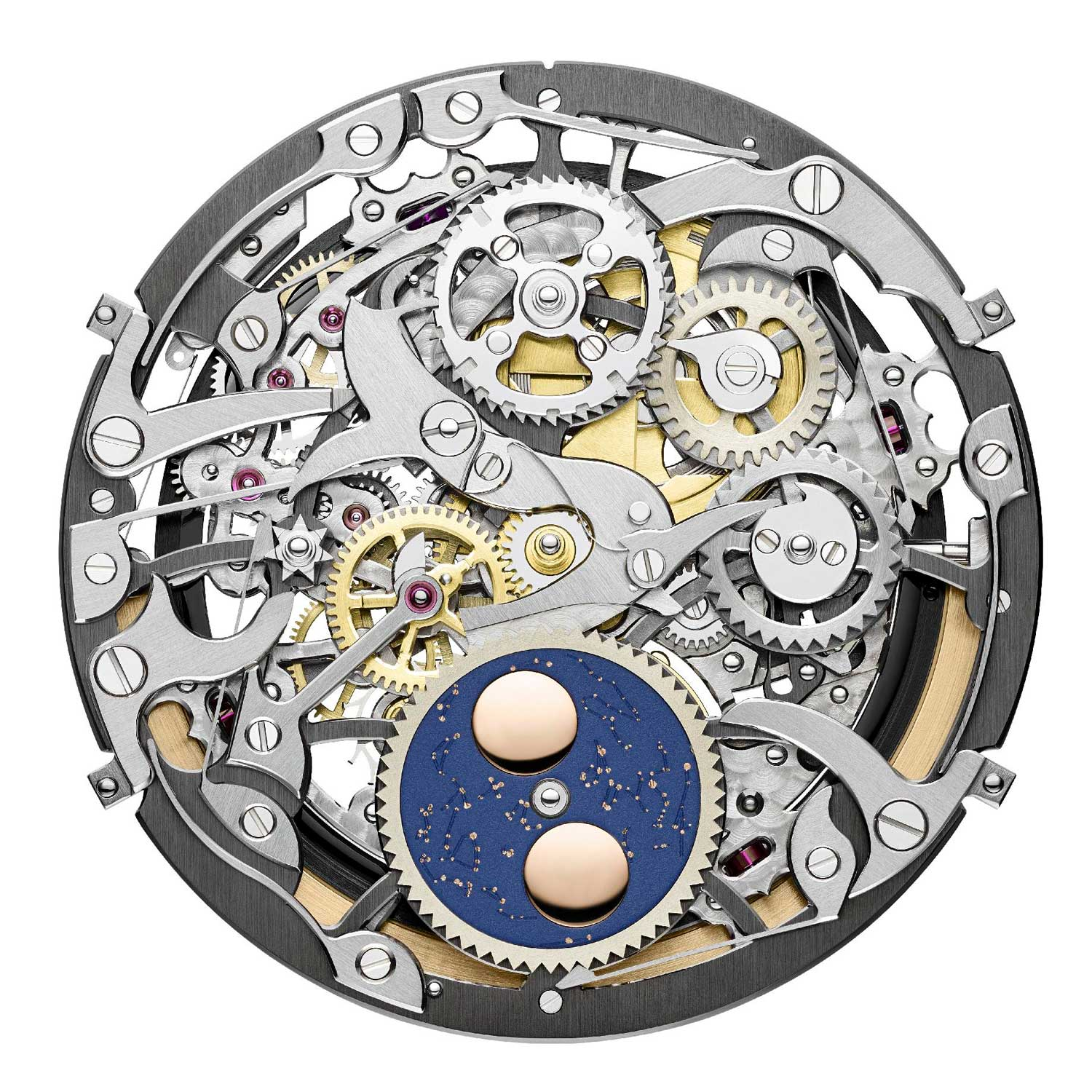 The extraordinary hand-skeletonization of Caliber 1120 in this watch includes hand bevelling of 16 internal angles on just the rotor alone.
