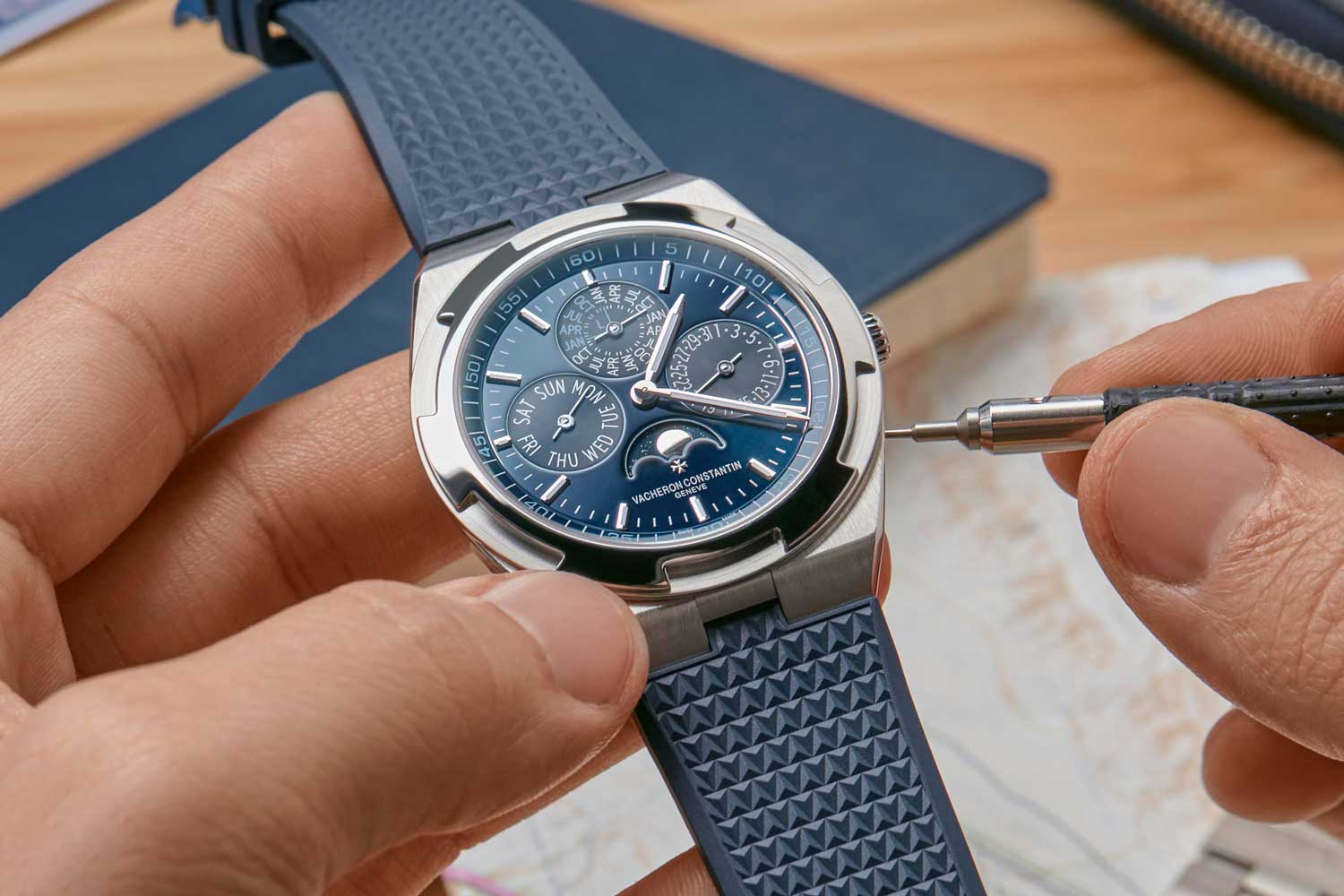 The Overseas watches offer a quick strap change system