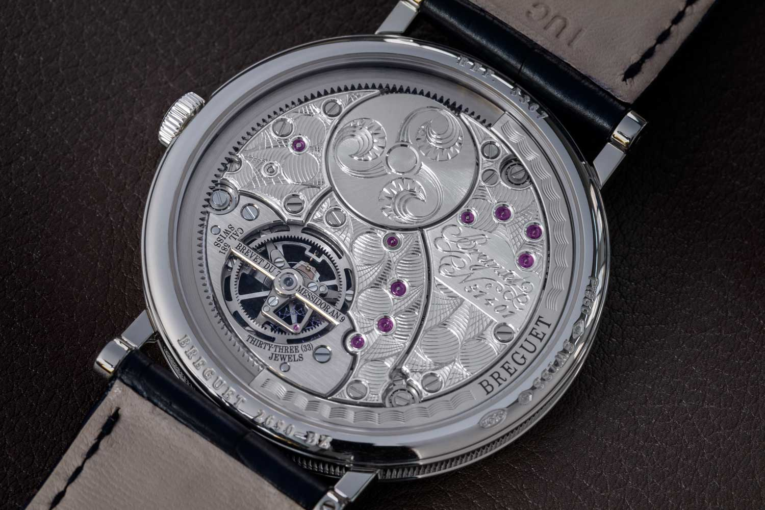 """The rear of the tourbillon bridge is engraved with """"Brevet Du 7 Messidor An 9"""", a reference to the Republican Calendar used in 1801. It's the date Breguet received the patent for his tourbillon mechanism.(©Revolution)"""