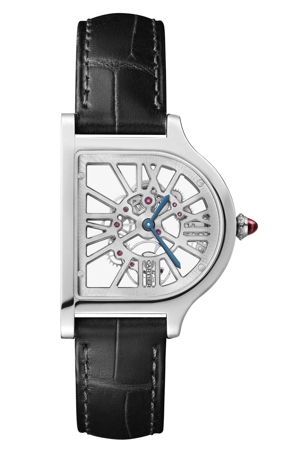 The Cloche also comes in three skeletonized versions — in pink gold, platinum, and platinum with diamonds — where the bridges of the movement also serve as the stylized indices
