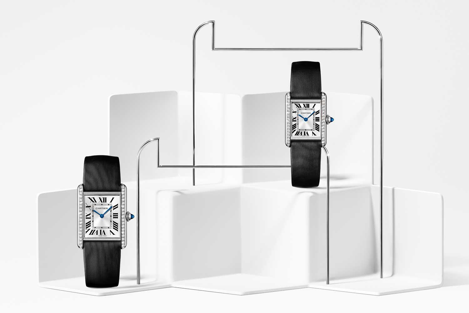 The Tank Must is also available in large and small models with steel cases set with 40 brilliant-cut diamonds