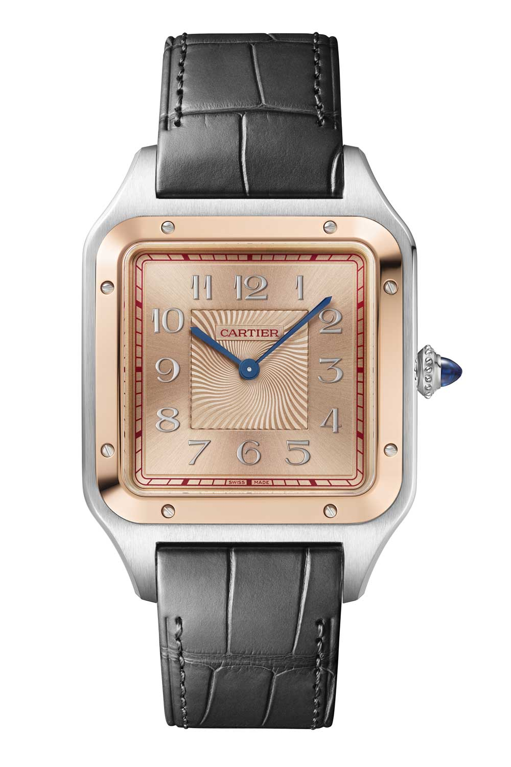 The Santos-Dumont extra-large model in 18k pink gold and steel