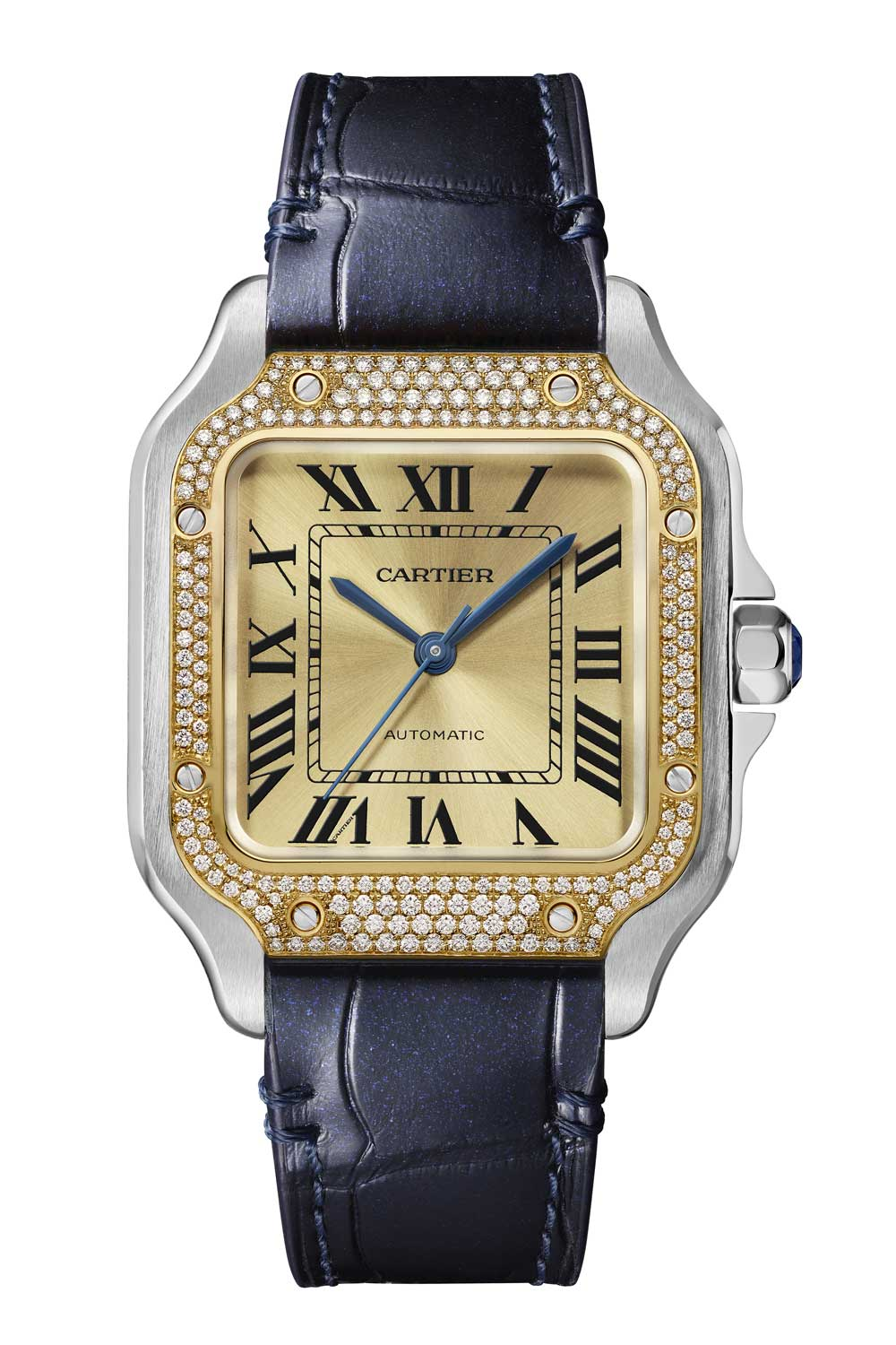 The watch comes on an interchangeable QuickSwitch steel bracelet and alligator leather strap