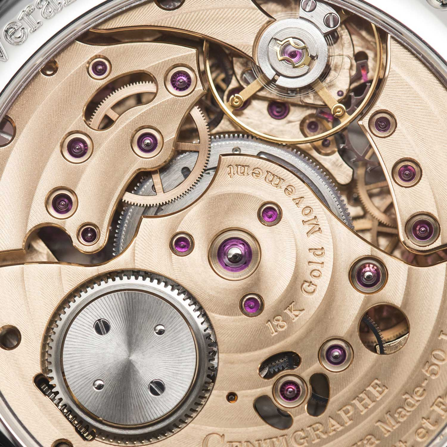 The highly innovative clutch-less cal. 1506 in the Centigraphe Souverain with a mainspring barrel that unwinds in two separate directions
