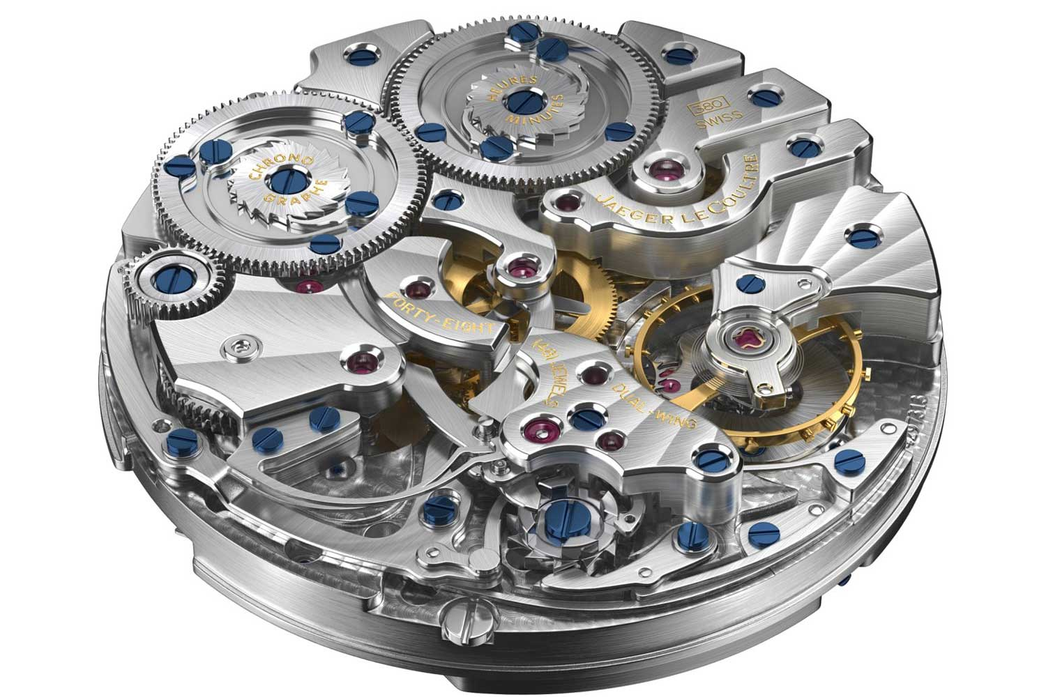 The Duomètre à Chronographe caliber 380 with no coupling system. Instead, the gear train drives the pinion of the escape wheel while the chronograph gear train engages the escape wheel directly