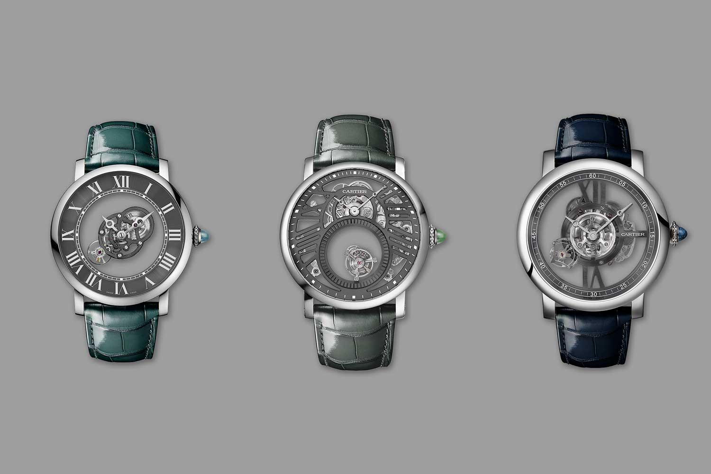The new Rotonde de Cartier Astromysterious, Skeleton Double Tourbillon and Astrotourbillon (from left to right)