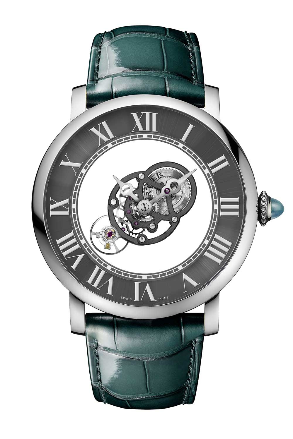 The Rotonde de Cartier Astromysterious features a movement seemingly suspended in space along with the watch's hour and minute hands.