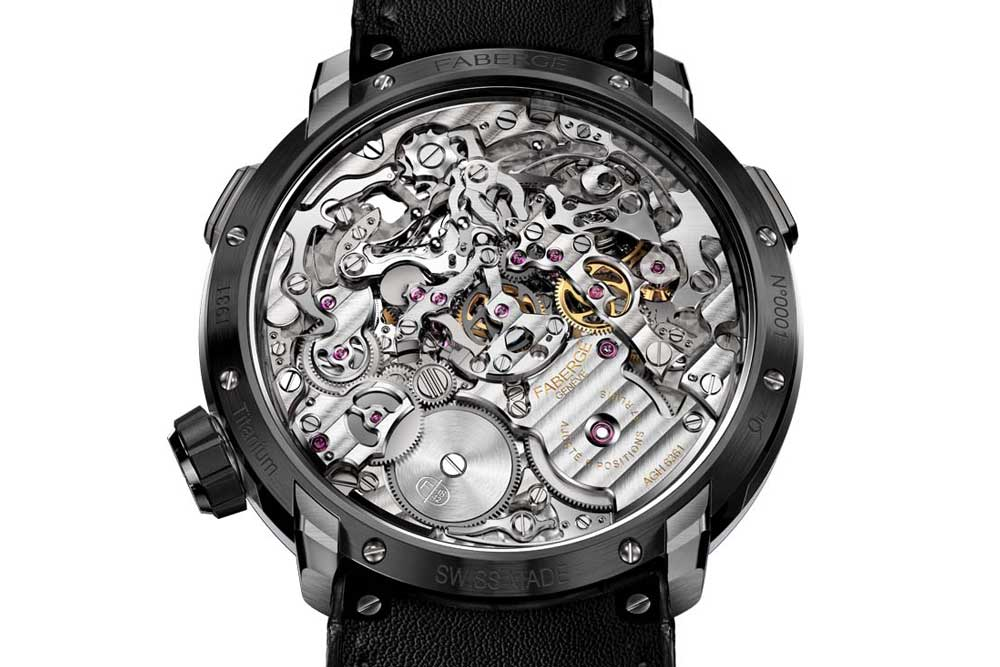The uniquely constructed AgenGraphe chronograph mechanism is visible in the middle of the movement while the gear train is built around it